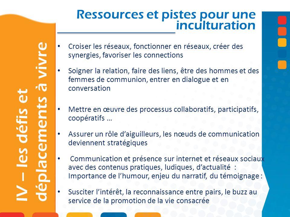 IV – les défis et déplacements à vivre Ressources et pistes pour une inculturation Croiser les réseaux, fonctionner en réseaux, créer des synergies, f