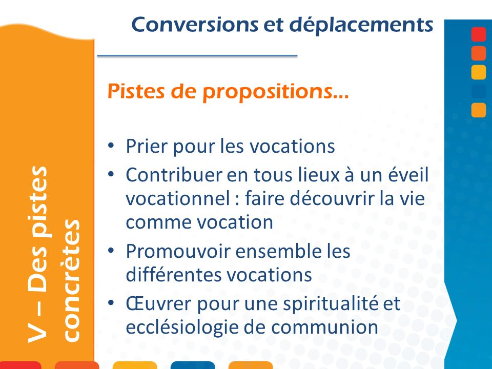 Pistes de propositions… V – Des pistes concrètes Conversions et déplacements Prier pour les vocations Contribuer en tous lieux à un éveil vocationnel