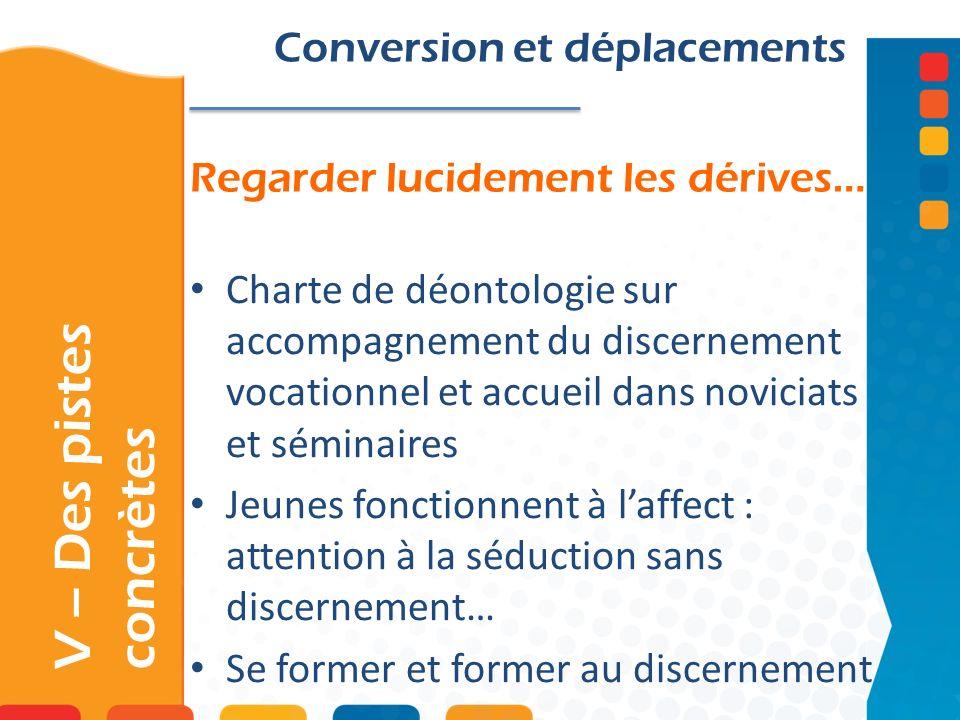 Regarder lucidement les dérives… V – Des pistes concrètes Conversion et déplacements Charte de déontologie sur accompagnement du discernement vocation