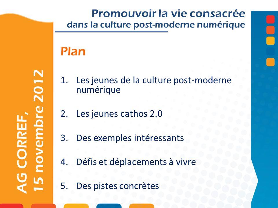 Plan AG CORREF, 15 novembre 2012 Promouvoir la vie consacrée dans la culture post-moderne numérique 1.Les jeunes de la culture post-moderne numérique