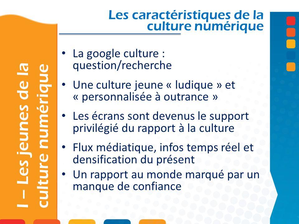 La google culture : question/recherche Une culture jeune « ludique » et « personnalisée à outrance » Les écrans sont devenus le support privilégié du