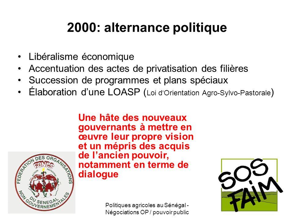 Politiques agricoles au Sénégal - Négociations OP / pouvoir public 2000: alternance politique Libéralisme économique Accentuation des actes de privati