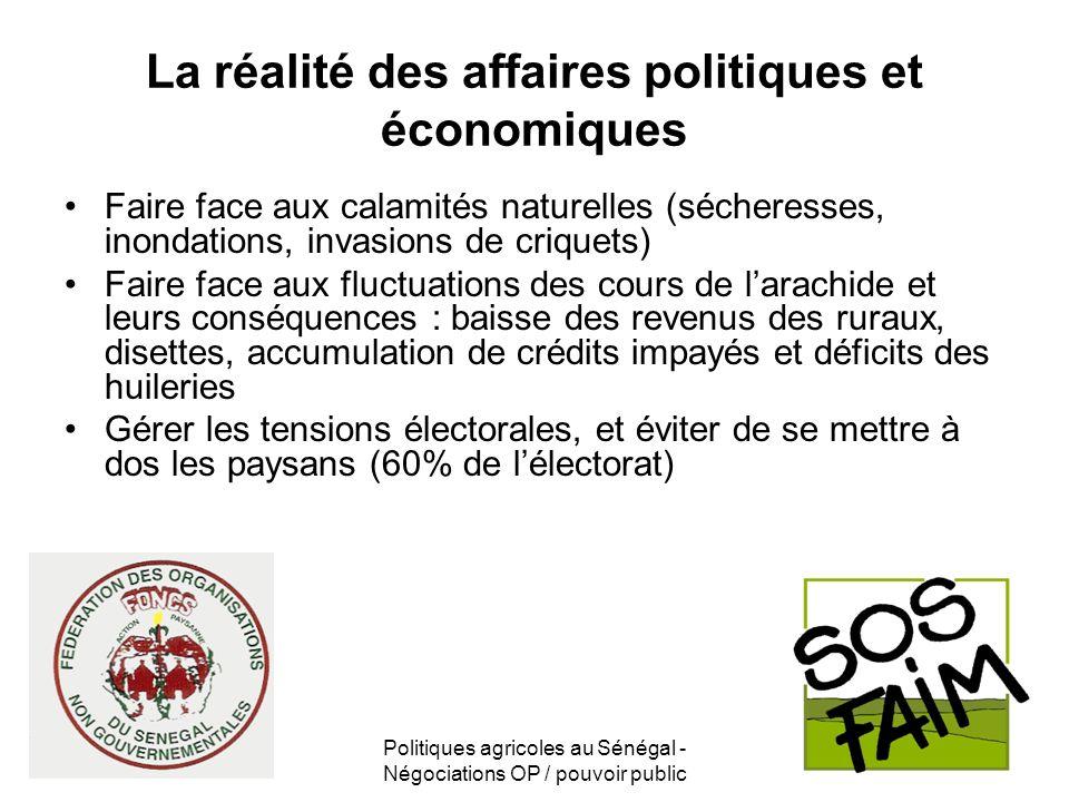 Politiques agricoles au Sénégal - Négociations OP / pouvoir public La réalité des affaires politiques et économiques Faire face aux calamités naturell