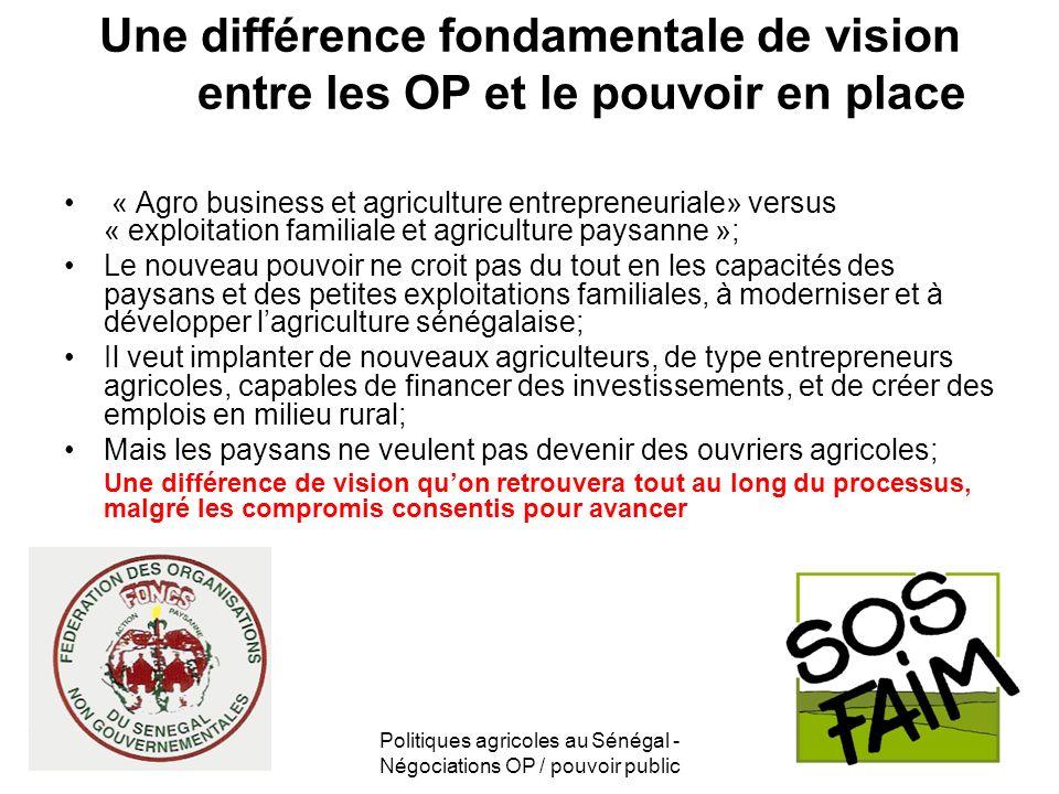 Politiques agricoles au Sénégal - Négociations OP / pouvoir public Une différence fondamentale de vision entre les OP et le pouvoir en place « Agro bu