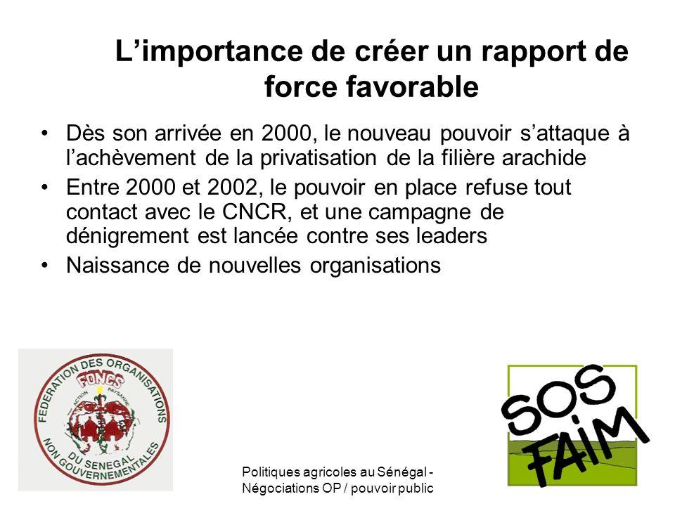 Politiques agricoles au Sénégal - Négociations OP / pouvoir public Limportance de créer un rapport de force favorable Dès son arrivée en 2000, le nouv