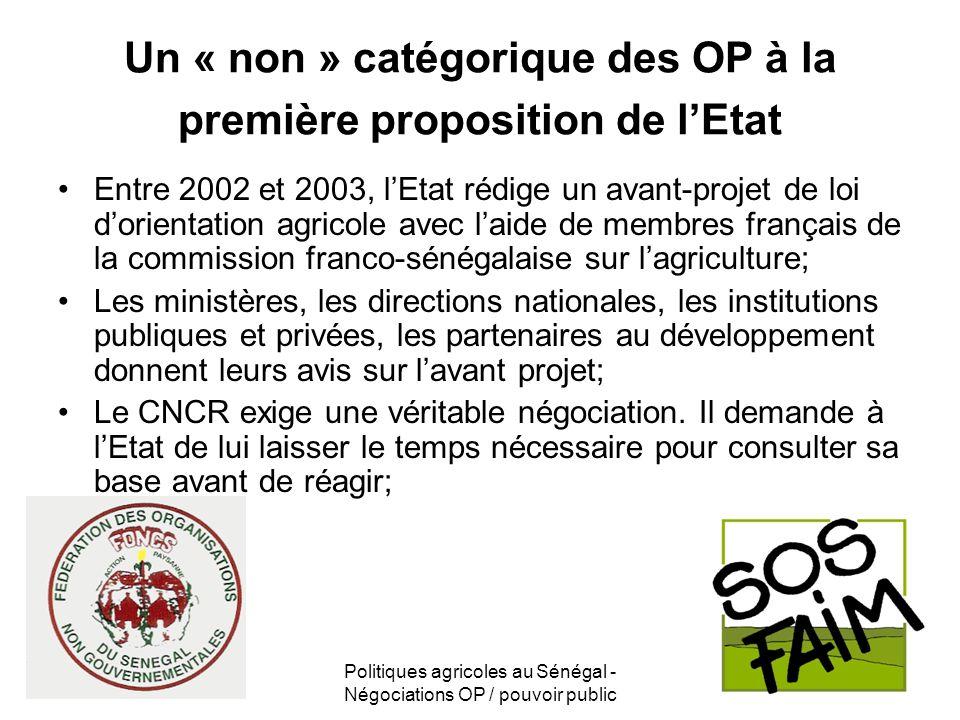 Politiques agricoles au Sénégal - Négociations OP / pouvoir public Un « non » catégorique des OP à la première proposition de lEtat Entre 2002 et 2003