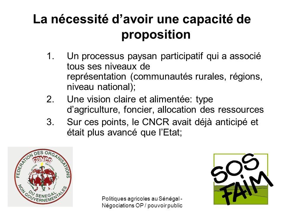 Politiques agricoles au Sénégal - Négociations OP / pouvoir public La nécessité davoir une capacité de proposition 1.Un processus paysan participatif