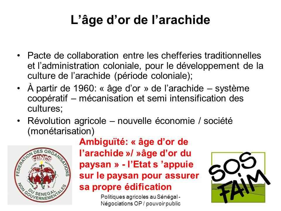 Politiques agricoles au Sénégal - Négociations OP / pouvoir public Lâge dor de larachide Pacte de collaboration entre les chefferies traditionnelles e