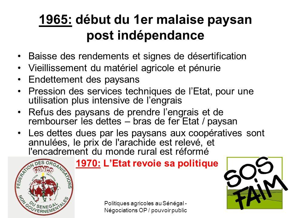Politiques agricoles au Sénégal - Négociations OP / pouvoir public 1965: début du 1er malaise paysan post indépendance Baisse des rendements et signes