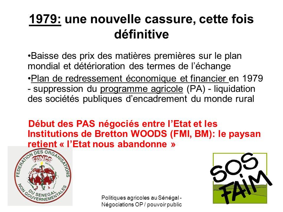Politiques agricoles au Sénégal - Négociations OP / pouvoir public 1979: une nouvelle cassure, cette fois définitive Baisse des prix des matières prem