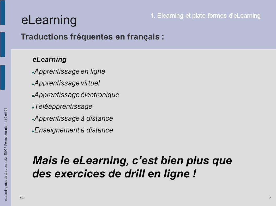 MR eLearning moodle & educanet2 - ESCF Formation interne 19.05.08 3 Loutil informatique permet à lélève de : 1.Collaborer à distance avec ses paires dans le cadre dun projet commun.