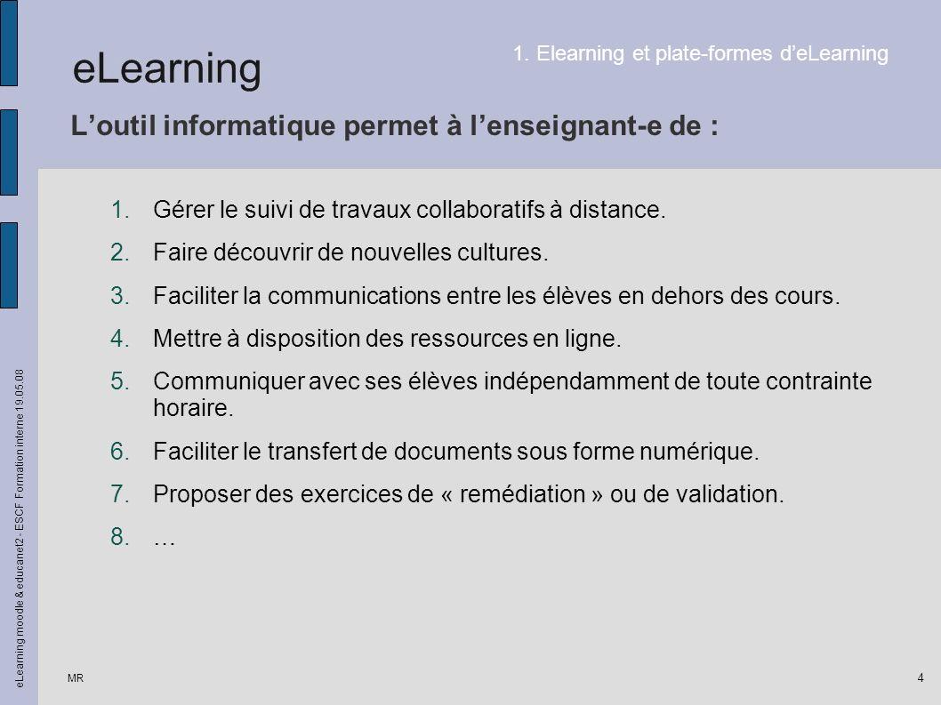 MR eLearning moodle & educanet2 - ESCF Formation interne 19.05.08 4 Loutil informatique permet à lenseignant-e de : 1.Gérer le suivi de travaux collaboratifs à distance.