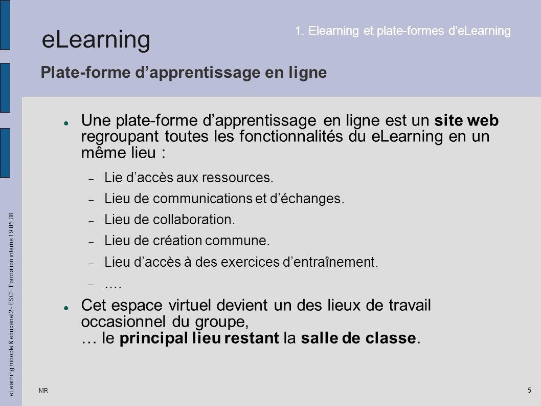 MR eLearning moodle & educanet2 - ESCF Formation interne 19.05.08 5 Plate-forme dapprentissage en ligne Une plate-forme dapprentissage en ligne est un site web regroupant toutes les fonctionnalités du eLearning en un même lieu : Lie daccès aux ressources.