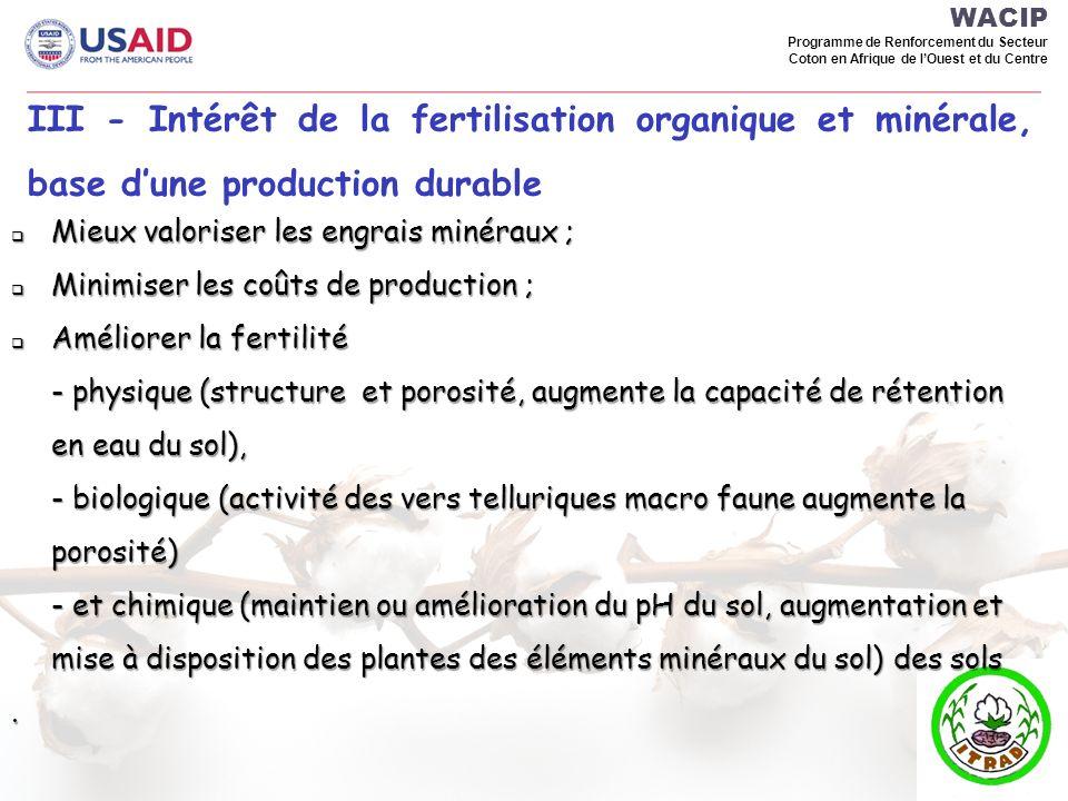 WACIP Programme de Renforcement du Secteur Coton en Afrique de lOuest et du Centre III - Intérêt de la fertilisation organique et minérale, base dune