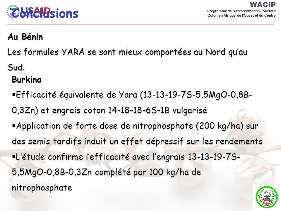 WACIP Programme de Renforcement du Secteur Coton en Afrique de lOuest et du Centre Conclusions Au Bénin Les formules YARA se sont mieux comportées au