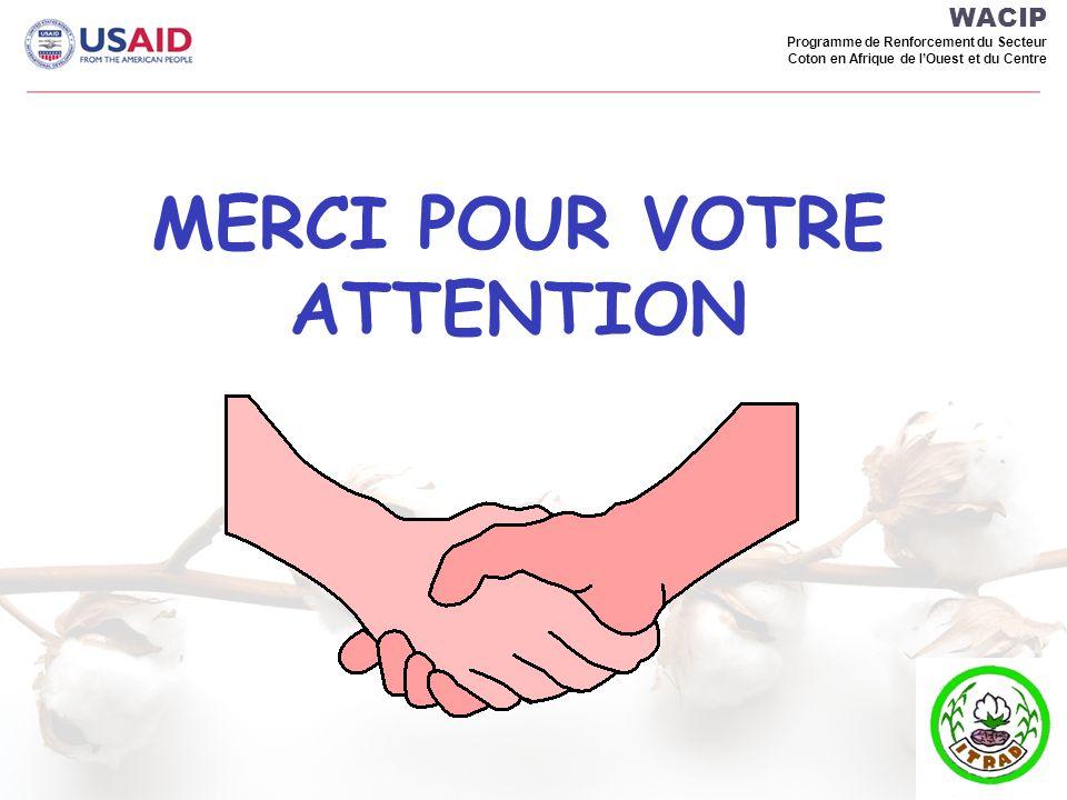 WACIP Programme de Renforcement du Secteur Coton en Afrique de lOuest et du Centre MERCI POUR VOTRE ATTENTION