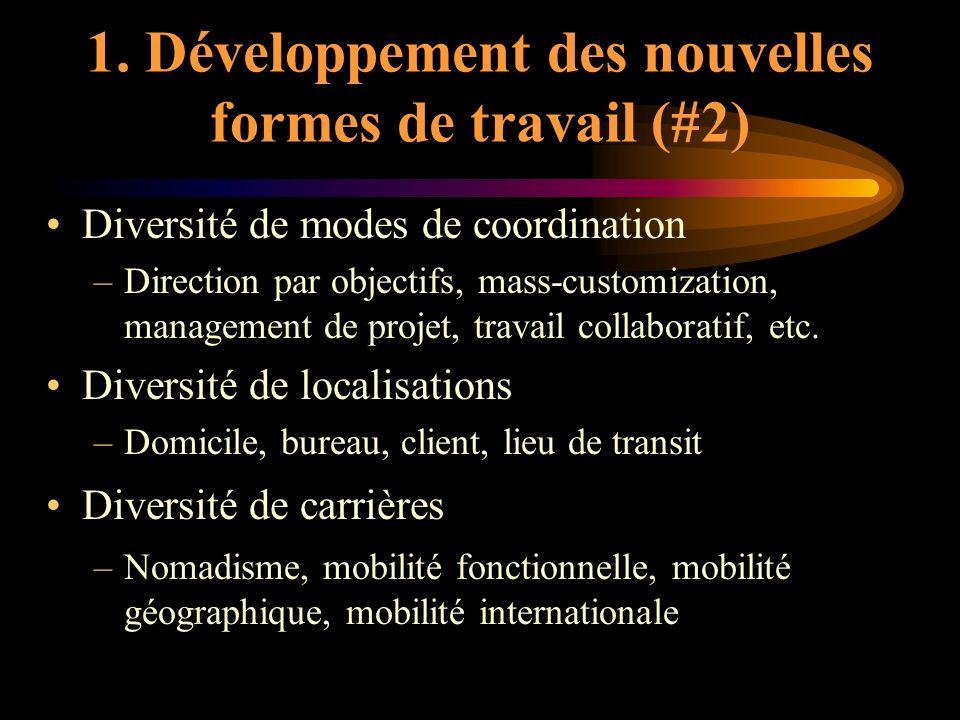1. Développement des nouvelles formes de travail (#2) Diversité de modes de coordination –Direction par objectifs, mass-customization, management de p
