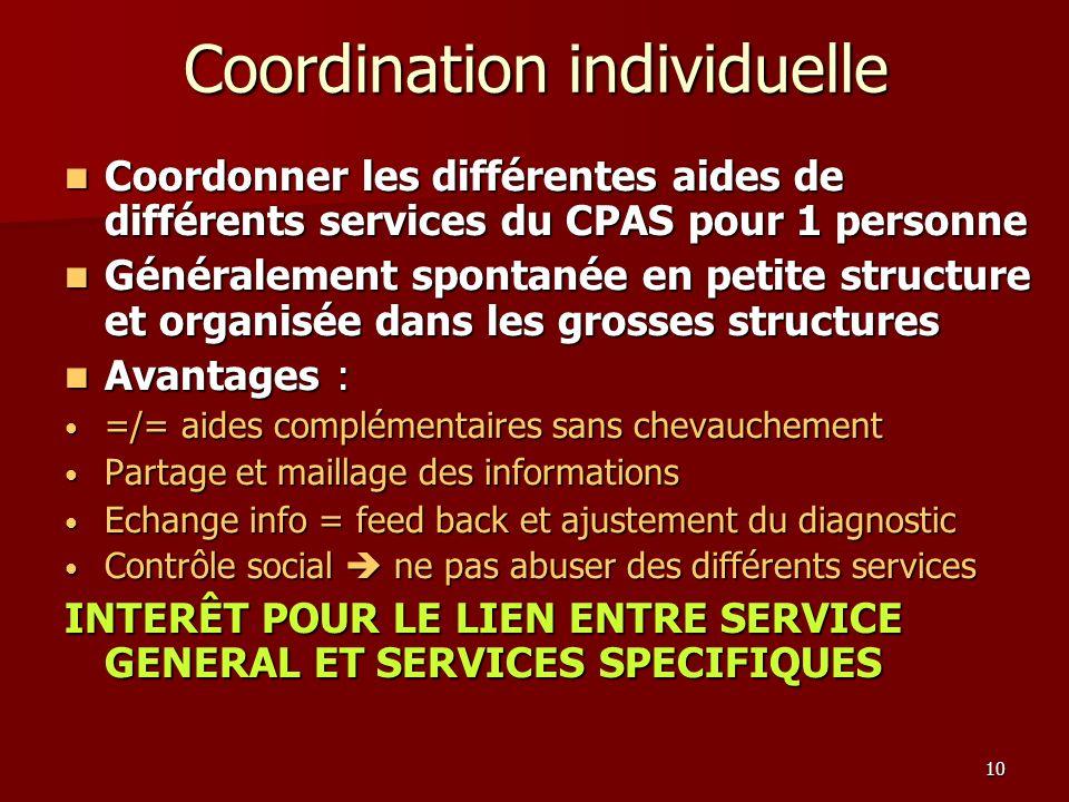 10 Coordination individuelle Coordonner les différentes aides de différents services du CPAS pour 1 personne Coordonner les différentes aides de diffé