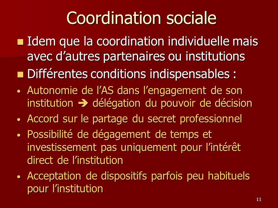 11 Coordination sociale Idem que la coordination individuelle mais avec dautres partenaires ou institutions Idem que la coordination individuelle mais