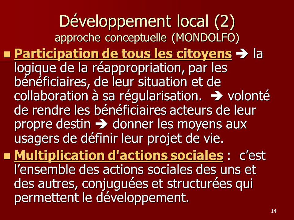 14 Participation de tous les citoyens la logique de la réappropriation, par les bénéficiaires, de leur situation et de collaboration à sa régularisati