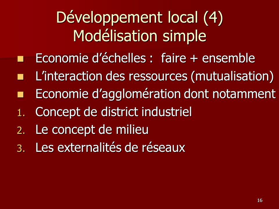 16 Développement local (4) Modélisation simple Economie déchelles : faire + ensemble Economie déchelles : faire + ensemble Linteraction des ressources