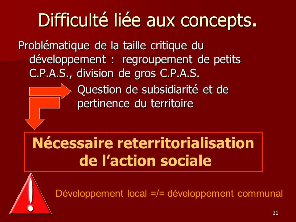 21 Difficulté liée aux concepts. Problématique de la taille critique du développement : regroupement de petits C.P.A.S., division de gros C.P.A.S. Que