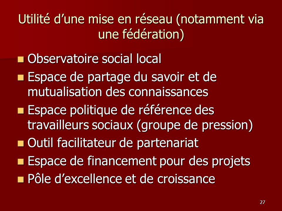 27 Utilité dune mise en réseau (notamment via une fédération) Observatoire social local Espace de partage du savoir et de mutualisation des connaissan