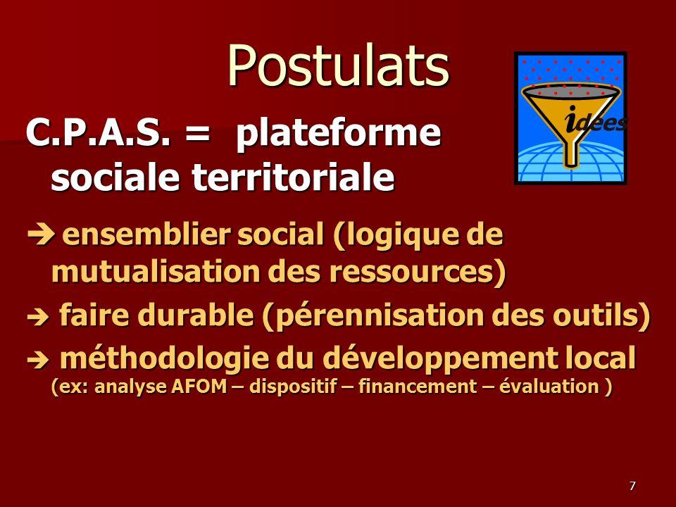 7 Postulats C.P.A.S. = plateforme sociale territoriale e ensemblier social (logique de mutualisation des ressources) f faire durable (pérennisation de