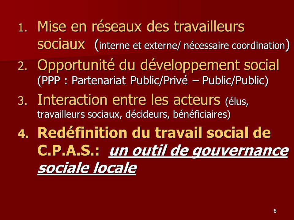 8 1. Mise en réseaux des travailleurs sociaux ( interne et externe/ nécessaire coordination ) 2. Opportunité du développement social (PPP : Partenaria