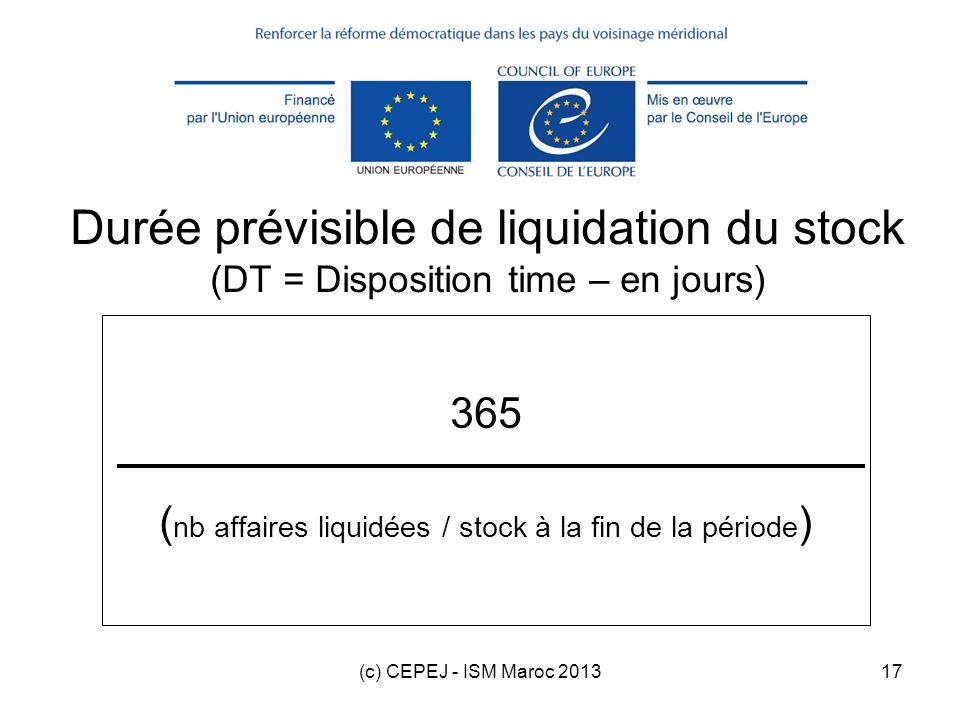 (c) CEPEJ - ISM Maroc 201317 365 ( nb affaires liquidées / stock à la fin de la période ) Durée prévisible de liquidation du stock (DT = Disposition t