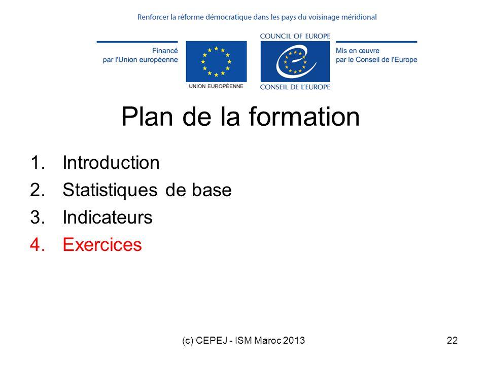 (c) CEPEJ - ISM Maroc 201322 Plan de la formation 1.Introduction 2.Statistiques de base 3.Indicateurs 4.Exercices