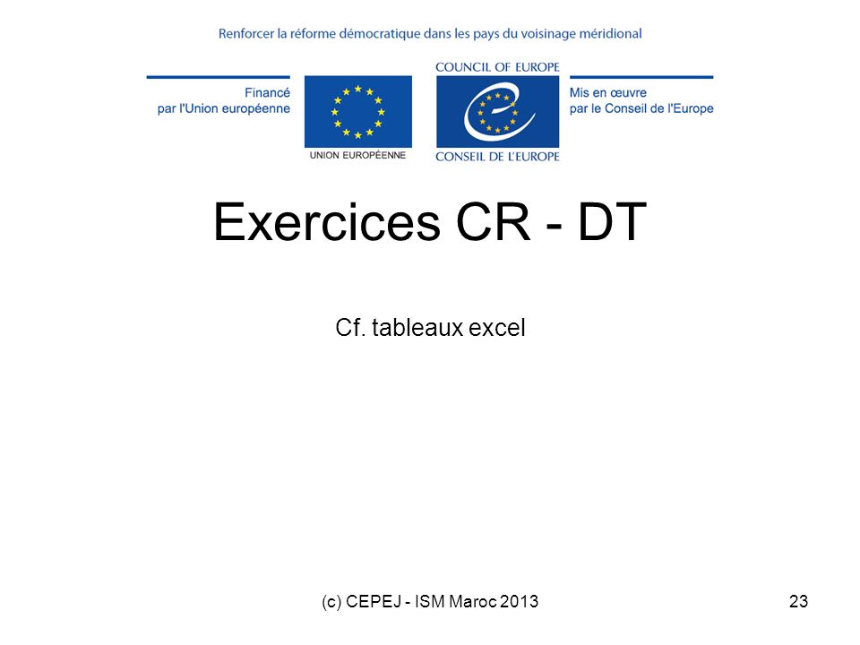 (c) CEPEJ - ISM Maroc 201323 Exercices CR - DT Cf. tableaux excel
