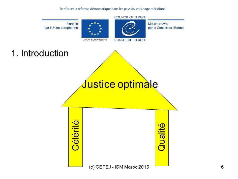 (c) CEPEJ - ISM Maroc 201317 365 ( nb affaires liquidées / stock à la fin de la période ) Durée prévisible de liquidation du stock (DT = Disposition time – en jours)