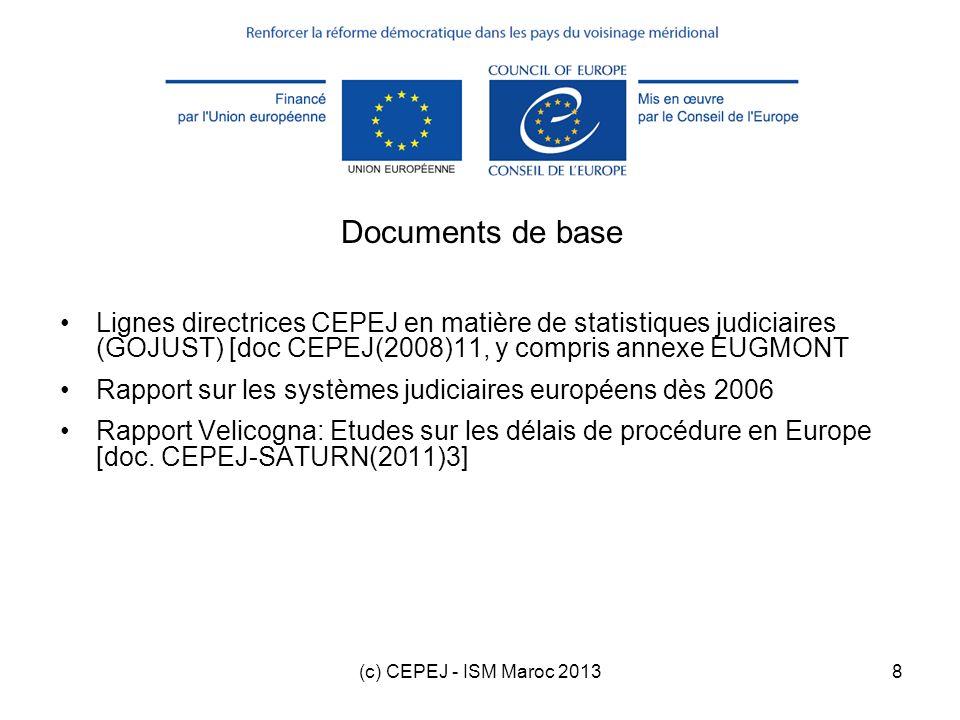 (c) CEPEJ - ISM Maroc 20139 Plan de la formation 1.Introduction 2.Statistiques de base 3.Indicateurs 4.Exercices