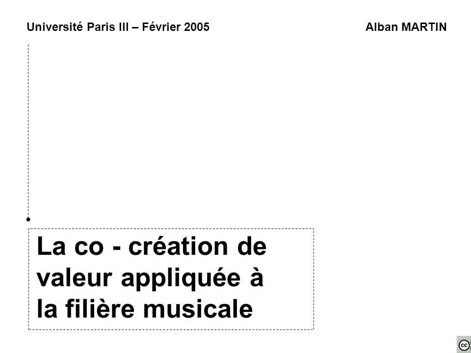 La co - création de valeur appliquée à la filière musicale Université Paris III – Février 2005Alban MARTIN