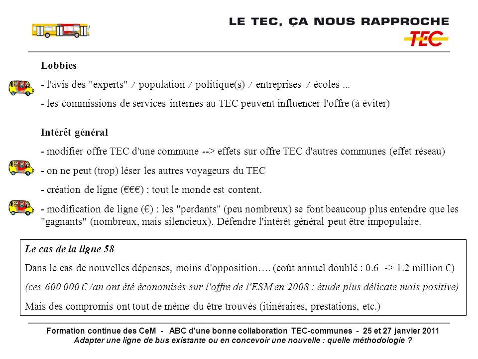 Formation continue des CeM - ABC d une bonne collaboration TEC-communes - 25 et 27 janvier 2011 Adapter une ligne de bus existante ou en concevoir une nouvelle : quelle méthodologie .