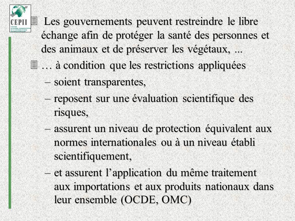 Les gouvernements peuvent restreindre le libre échange afin de protéger la santé des personnes et des animaux et de préserver les végétaux,...