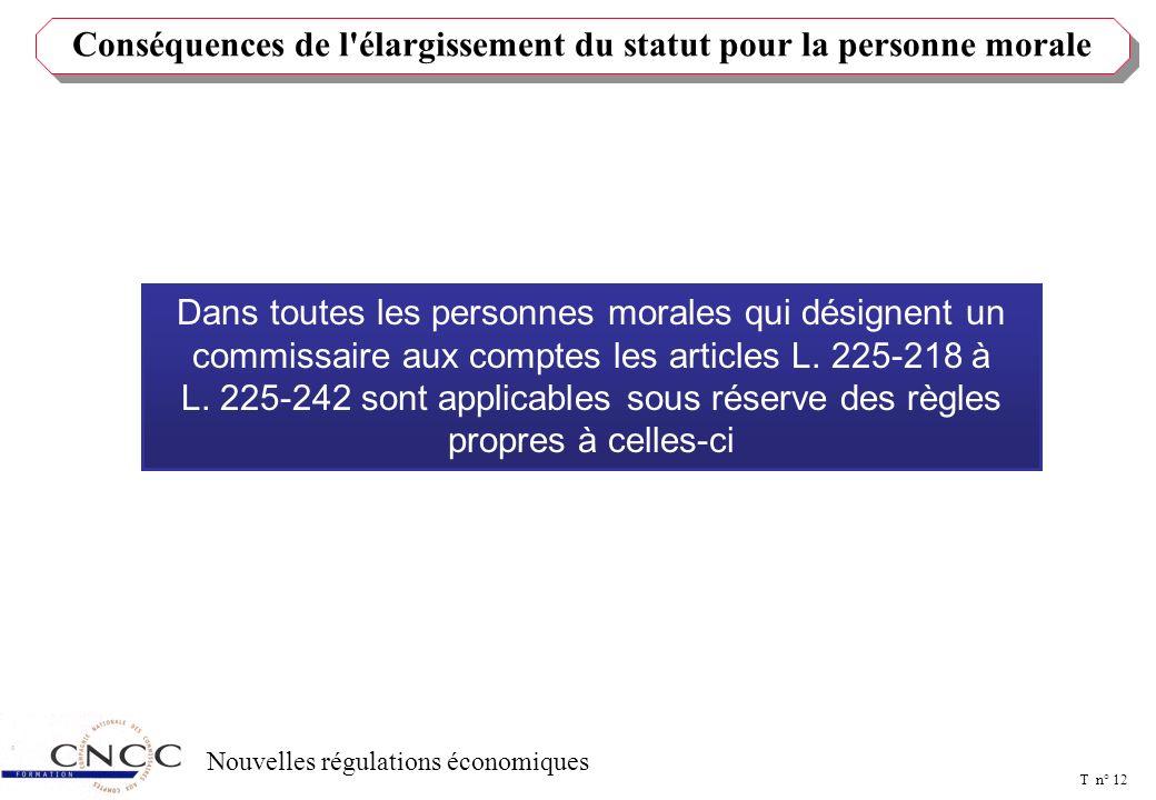 T n° 11 Nouvelles régulations économiques PERSONNES MORALES DE DROIT PRIVE ET ASSOCIATIONS Seul l'article L. 225-222 (ex 219-3) était applicable (inco