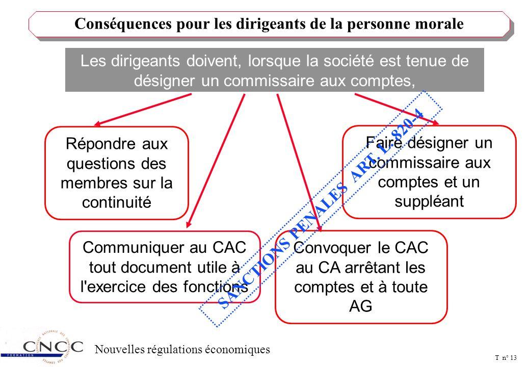 T n° 12 Nouvelles régulations économiques Dans toutes les personnes morales qui désignent un commissaire aux comptes les articles L.