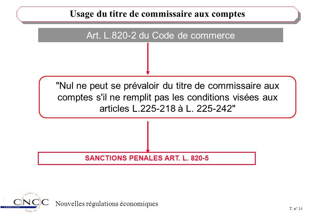 T n° 13 Nouvelles régulations économiques Faire désigner un commissaire aux comptes et un suppléant Communiquer au CAC tout document utile à l'exercic