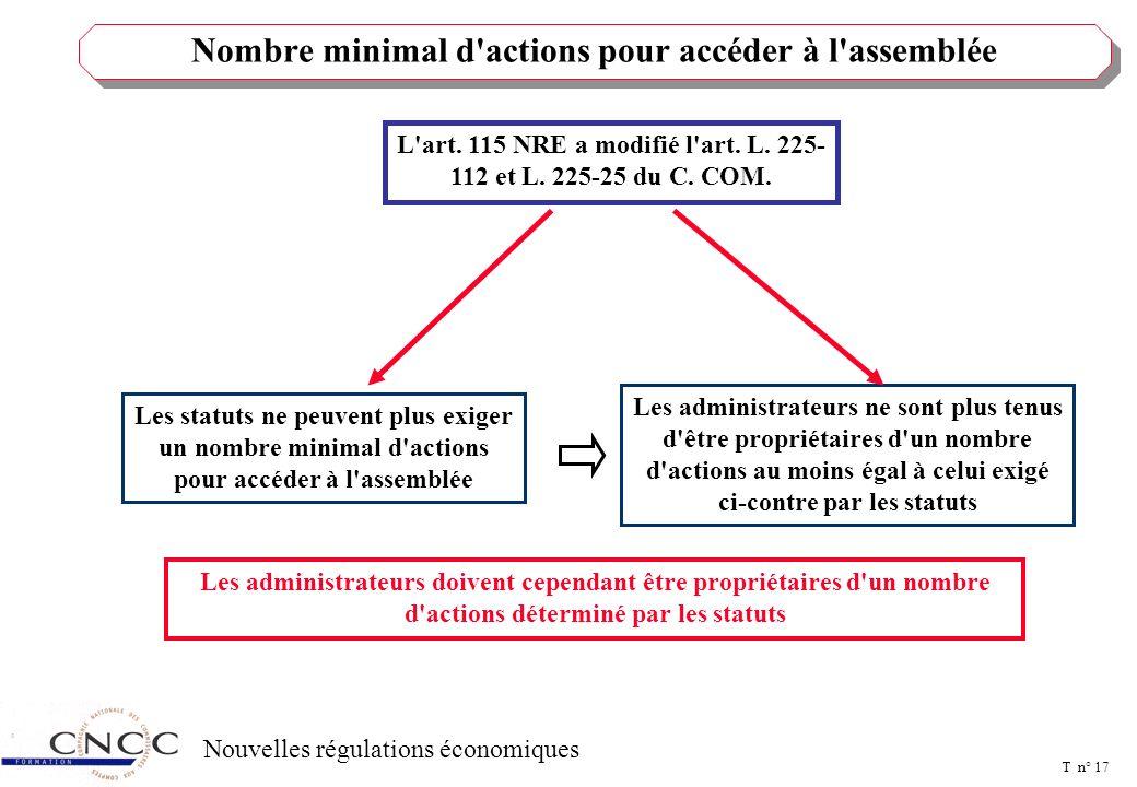 T n° 16 Nouvelles régulations économiques DISPOSITIONS RELATIVES A L'ACTIONNARIAT ET PREROGATIVES DU COMITE D'ENTREPRISE