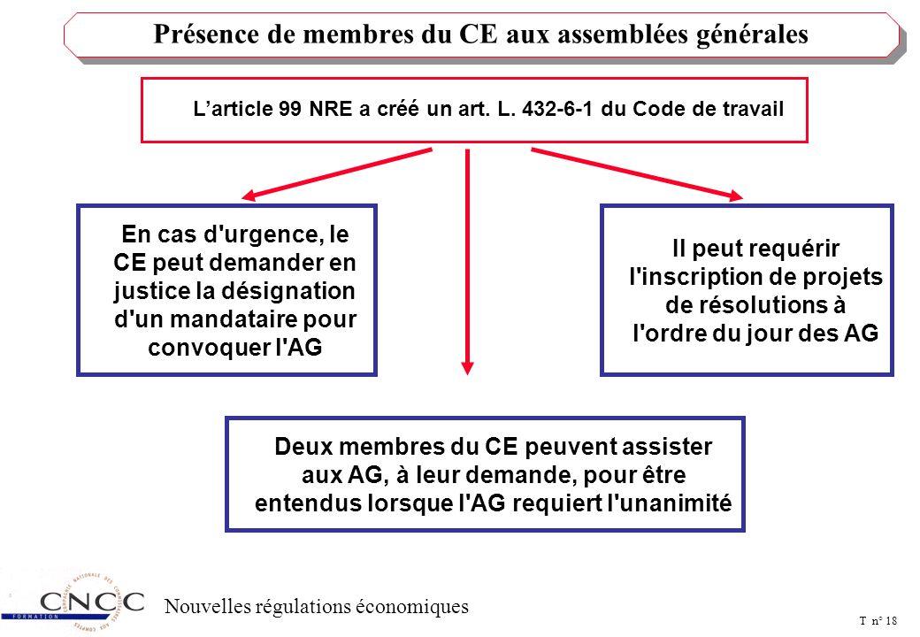 T n° 17 Nouvelles régulations économiques Les administrateurs ne sont plus tenus d'être propriétaires d'un nombre d'actions au moins égal à celui exig
