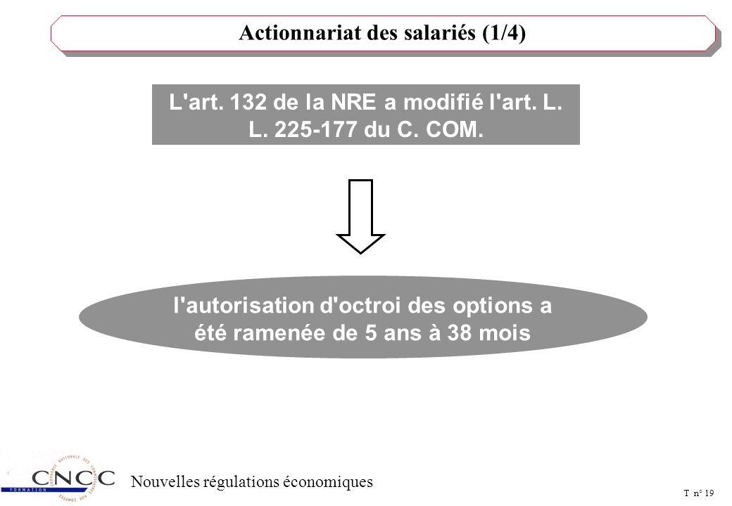 T n° 18 Nouvelles régulations économiques Larticle 99 NRE a créé un art. L. 432-6-1 du Code de travail En cas d'urgence, le CE peut demander en justic