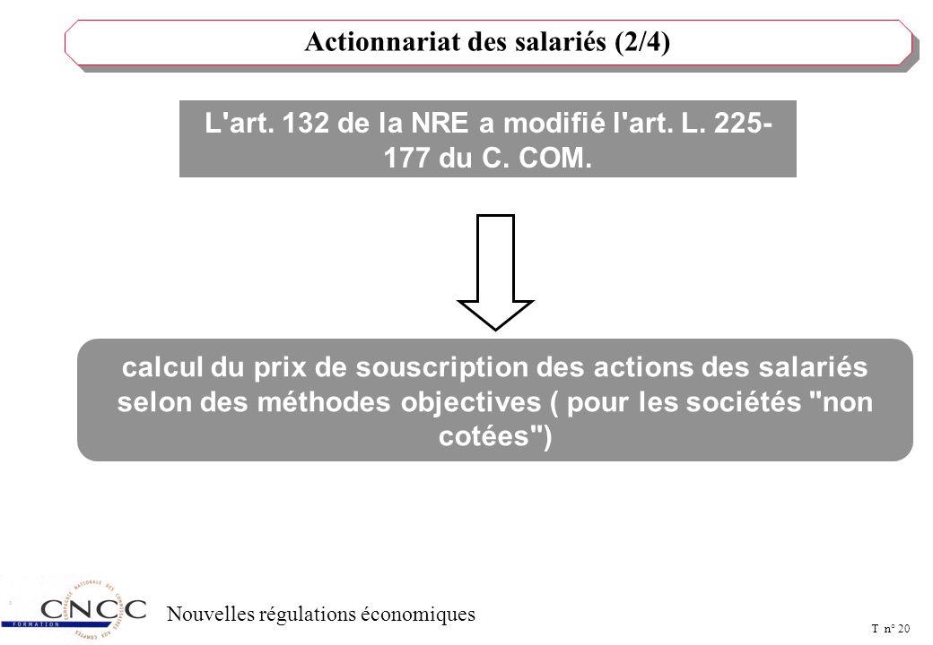 T n° 19 Nouvelles régulations économiques L'art. 132 de la NRE a modifié l'art. L. L. 225-177 du C. COM. Actionnariat des salariés (1/4) l'autorisatio