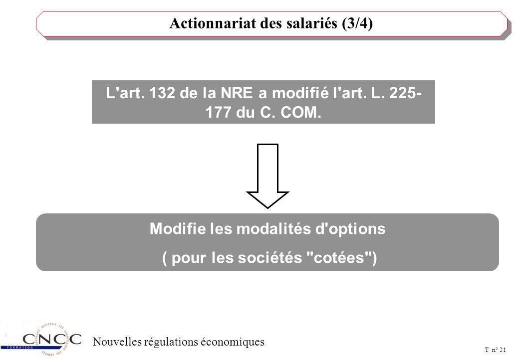 T n° 20 Nouvelles régulations économiques Actionnariat des salariés (2/4) L'art. 132 de la NRE a modifié l'art. L. 225- 177 du C. COM. calcul du prix