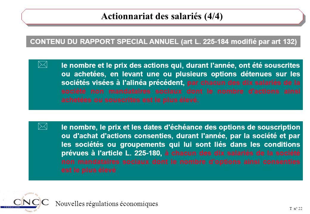 T n° 21 Nouvelles régulations économiques Actionnariat des salariés (3/4) L'art. 132 de la NRE a modifié l'art. L. 225- 177 du C. COM. Modifie les mod