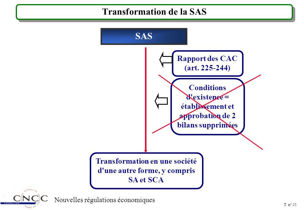 T n° 24 Nouvelles régulations économiques Transformation en SAS Sociétés autres que les SA et les SCA Transformation en SAS NOMINATION D UN CAT SA et SCA Transformation en SAS Rapport des CAC (art.