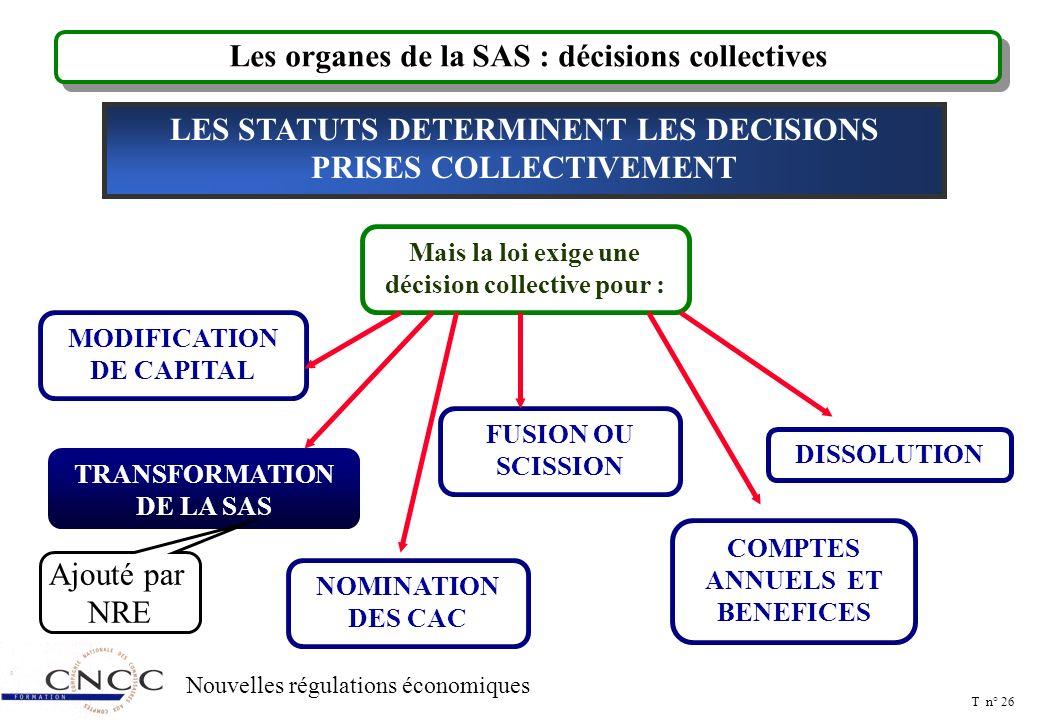 T n° 25 Nouvelles régulations économiques Transformation de la SAS SAS Transformation en une société d'une autre forme, y compris SA et SCA Rapport de