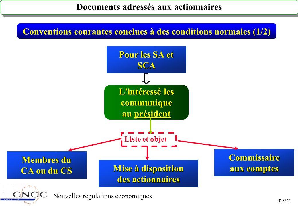 T n° 34 Nouvelles régulations économiques Nouvelles entités soumises à la procédure des conventions Conventions réglementées (5/5) Doivent désormais f