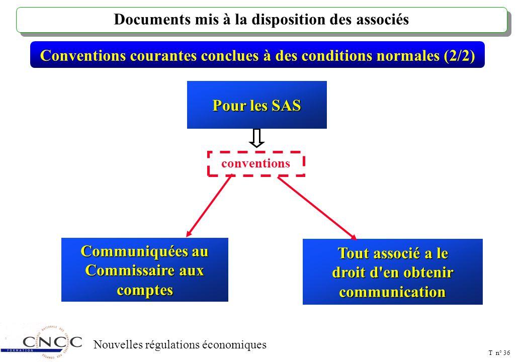 T n° 35 Nouvelles régulations économiques Conventions courantes conclues à des conditions normales (1/2) Documents adressés aux actionnaires Pour les